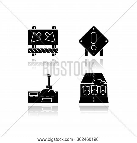 Road Works Drop Shadow Black Glossy Icons Set. Traffic Sign For Cars To Take Detour. Attention Roads
