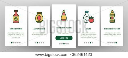 Ketchup Tomato Sauce Onboarding Icons Set Vector. And Classical Ketchup, Package And Bottle, Grocery