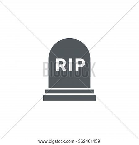 Rip Grave Vector Icon. Tombstone Gravestone Death Rest In Peace Flat Funeral Symbol.