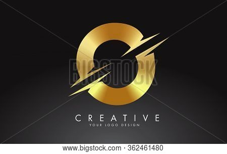 Golden O Letter Logo Design With Creative Cuts. Creative Vector Illustration.