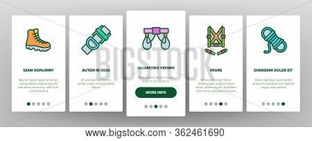 Climber Equipment Onboarding Icons Set Vector. Climber Helmet And Glasses, Boot, Safety Rope And Sky