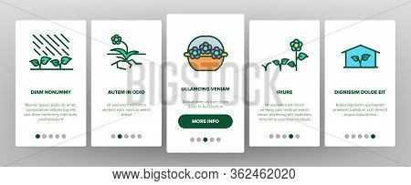 Growing Flowers Plants Onboarding Icons Set Vector. Growing Flowers In Greenhouse And Pot, Planting,