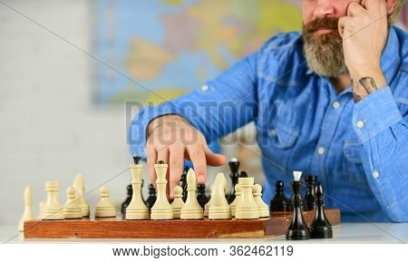 Chess Is Life In Miniature. Chess Lesson. Strategy Concept. School Teacher. Board Game. Playing Ches