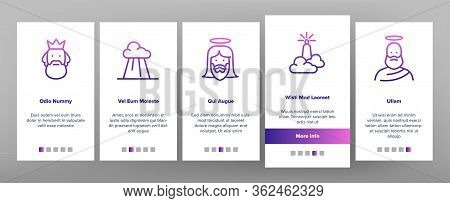 God Christian Religion Onboarding Icons Set Vector. Christianity And Catholic God, Heaven And Hand F
