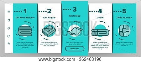 Blanket And Towel Onboarding Icons Set Vector. Electronic Blanket With Heating, Fabric Bathroom Acce