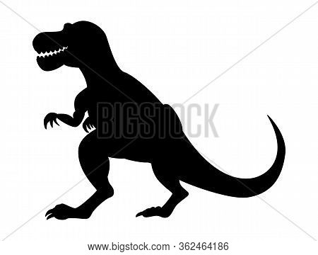 Tyrannosaurus Silhouette Isolated On White Background. Vector Illustration.
