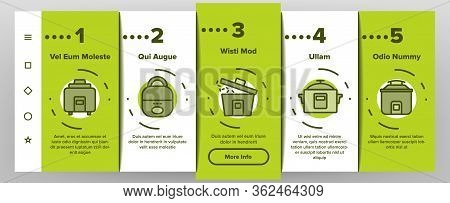 Rice Cooker Equipment Onboarding Icons Set Vector. Rice Cooker Electronic Device For Cooking Meal, K
