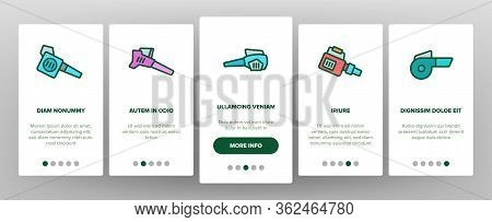 Leaf Blower Equipment Onboarding Icons Set Vector. Leaf Blower Electronic Device, Cleaning Blowing T