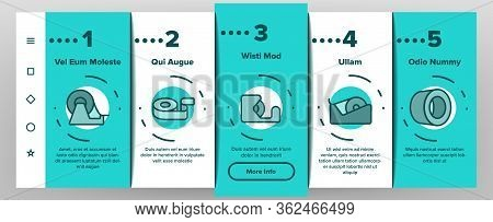 Adhesive Tape Scotch Onboarding Icons Set Vector. Medicine Plaster Bandage, Roll Adhesive Tool, Offi