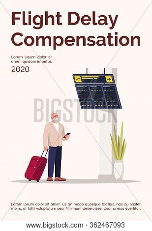 Flight Delay Compensation Poster Template. Man With Luggage In Airport Hall. Commercial Flyer Design