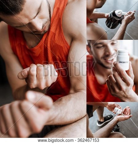 Collage Of Sportsman Making Doping Injection, Smiling, Holding Jar With Protein Powder, Probiotic Bo