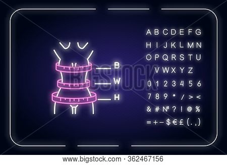 Woman Body Proportions Neon Light Icon. Outer Glowing Effect. Female Measurements, Bespoke Clothing