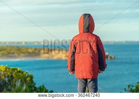 Little Child Standing On The Cliff And Watching The Sea, Port Elliot, South Australia