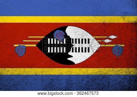 The Kingdom Of Eswatini (swaziland) National Flag. Grunge Background