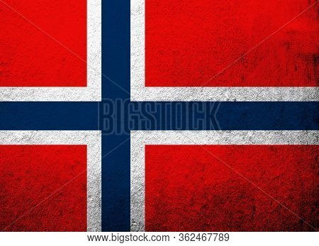 The Kingdom Of Norway National Flag. Grunge Background