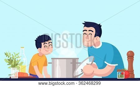Daddy And Son Inhaling Meal Aroma Semi Flat Rgb Color Vector Illustration. Male Parent And Kid With