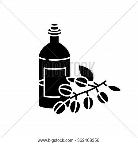 Jojoba Oil Black Glyph Icon. Liquid Product In Jar Container For Haircare. Natural Cosmetic For Nour