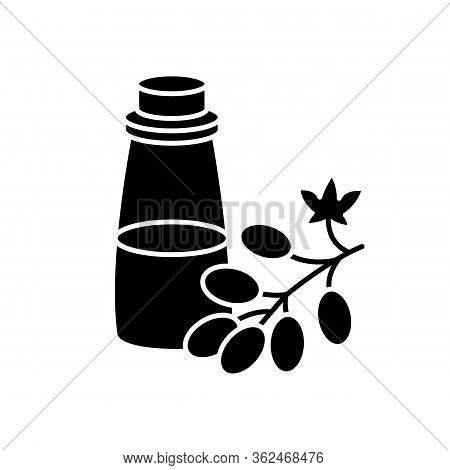Grapeseed Oil Black Glyph Icon. Organic Ingredient For Haircare Product. Vegan Hair Conditioner. Nat