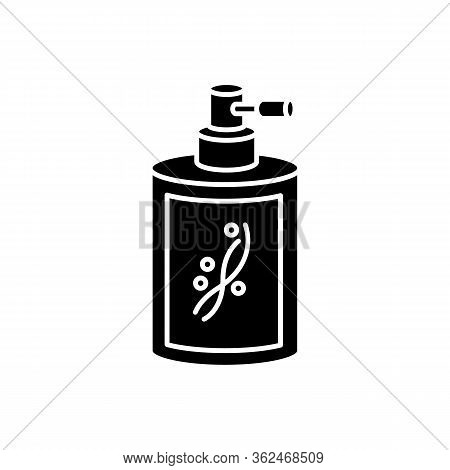 Liquid Silicon In Bottle Black Glyph Icon. Conditioner In Jar Container With Sprayer. Chemical Cosme