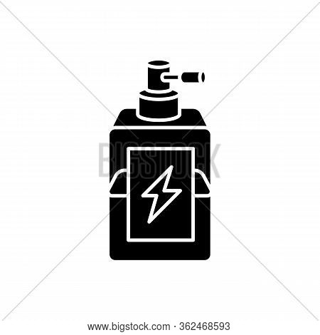 Antistatic Hair Sprayer Black Glyph Icon. Liquid Product In Container For Winter Haircare. Chemical