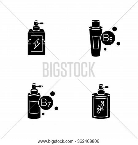 Hair Oils Black Glyph Icons Set On White Space. Exotic Baobab Fruit Extract. Macadamia Nuts For Hair