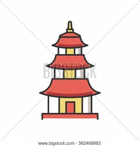 Japanese Temple Rgb Color Icon. Buddhist Pagoda Structure. Traditional Shinto Temple. Japanese Style