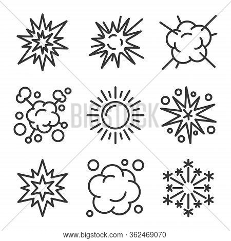 Explosion, Fireworks And Boom Icons Set On White Background. Line Style Vector