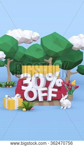 30 Thirty Percent Off - Easter Sale 3d Illustration.