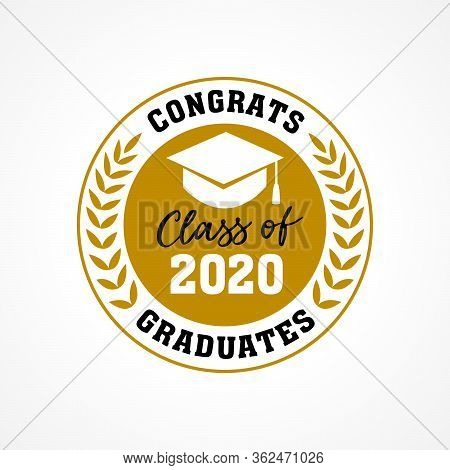 Class Of 2020 In Golden Palm Wreath, Congrats Graduates. Lettering Graduation Calligraphy Logo. Vect