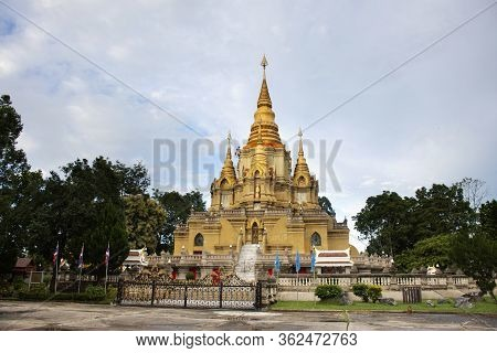 Phra That Chedi Phra Phuttha Dhamma Prakat Stupa And Pagoda In Wat Phutthathiwat Temple For Thai Peo