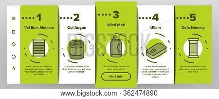 Tin Can Container Onboarding Icons Set Vector. Metallic Tin Can Package For Freshness Drink And Pick