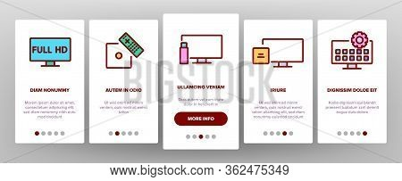 Smart Tv Television Onboarding Icons Set Vector. Smart Tv Electricity Technology Full Hd And 4k, Gam