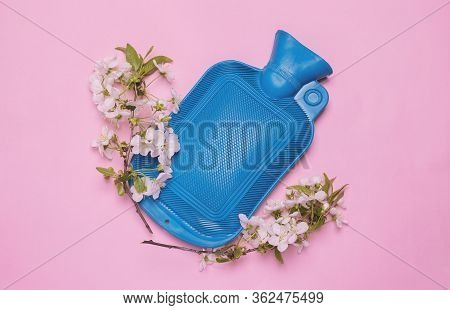 Rubber Heating Pad With Flowers On Pink Background