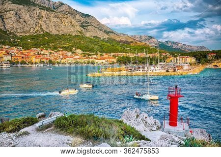 Splendid View Of The Resort Town Of Makarska On A Summer Day With Picturesque Harbor. Location: Maka