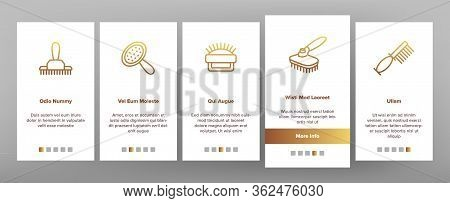 Grooming Brush For Pet Onboarding Icons Set Vector. Grooming Care Accessory In Different Form, Anima