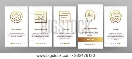 Maze Puzzle Different Onboarding Icons Set Vector. Maze Labyrinth Research And In Human Head, Direct