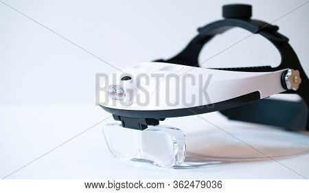 Professional Frontal Magnifying Glass On A White Background