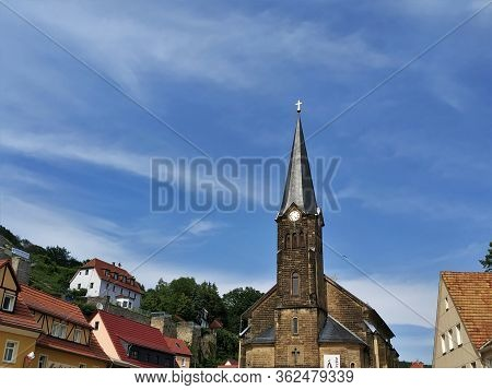 View On The Citychurch And Surrounding Hills Of Stadt Wehlen, Germany