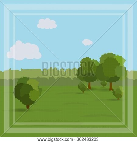 Simple Landscape With Trees And Bushes In Green Tones