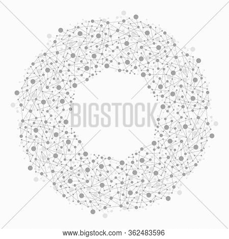 Vector Abstract Molecule Background. Circle Structure Of Connected Molecules, Medical Or Chemistry S