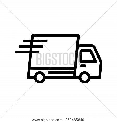 Fast Delivery Truck Icon, Express Delivery. Auto Delivery Vector Illustration On White Isolated Back