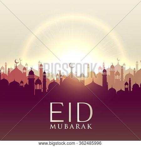 Eid Mubarak Card With Mosque Silhouttes Vector Design Illustration