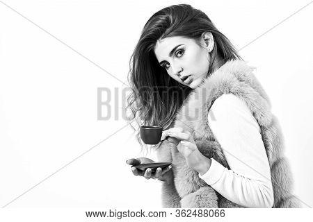 Lady Drink Espresso Little Ceramic Cup White Background. Enjoy Aroma And Taste Hot Coffee. Elite Dri