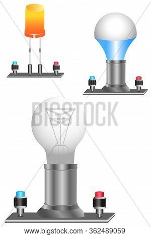 A Light Bulb On Stands Is A Physical Device That Performs The Work Of A Current Consumer In An Elect