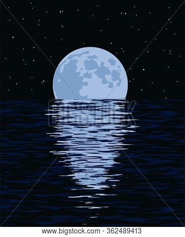 Vector Background Of Sea And Full Moon At Night. Illustration Of Light Reflection Of Moonlight In Wa