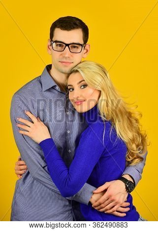 Careful Hug Of Loving People. Smart Husband. Happy Couple. Couple In Love. Family Couple Hugging On