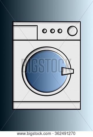Vector Image Of A Washing Machine Place For Text. Household Appliances. Household Washing Machine. P