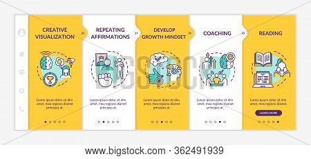 Lifestyle Coaching Onboarding Vector Template. Creative Visualization. Repeat Affirmation. Responsiv