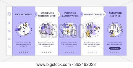 Emotional Maturity Onboarding Vector Template. Constantly Evolving. Thinking Change. Anger Control.