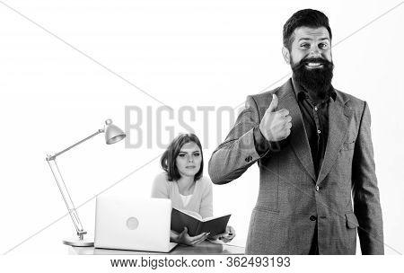 Hr Expert Office. Woman Hr Manager Sit In Office. Job Interview Concept. Man Candidate Pass Intervie